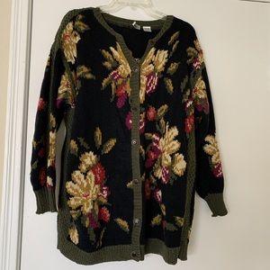 Vintage floral Cardigan Sweater